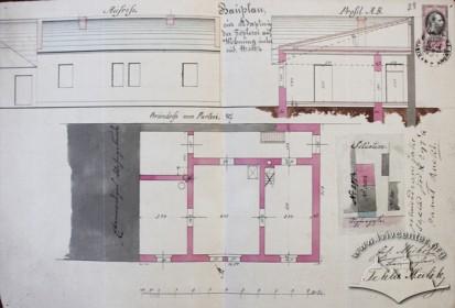 Проект адаптації гончарної майстерні на житло, розроблений будівничим Йозефом Мюелем в 1877 р.