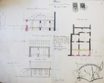 Проект прибудови до одноповерхового будинку на вул. Драгоманова, 22, виконаний Адольфом Ґроховальським у 1879 р.