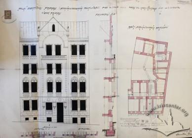 Проект існуючого будинку, розроблений Станіславом Децом у 1909 р.: головний фасад, розріз чільної стіни і план підключення будинку до каналізаційних мереж