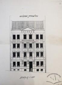 Нереалізований альтернативний проект фасаду у неокласицистичній стилістиці (проект 1909 р. Станіслава Деца)