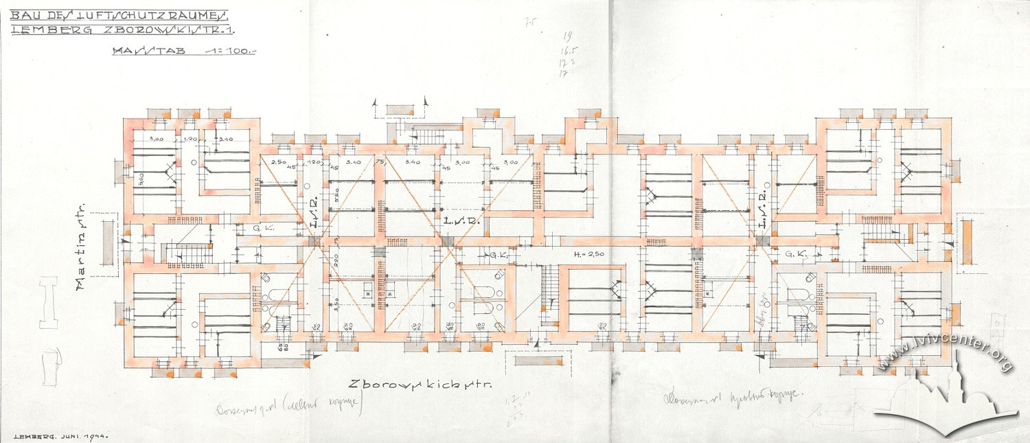 Plan for the arrangement of a bomb shelter in the basements (1944)/Image courtesy of the State Archive of Lviv Oblast, item 2/1/3349:64
