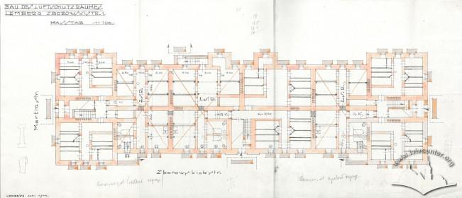 Схема влаштування бомбосховища у підвалі будинку (1944 р.)