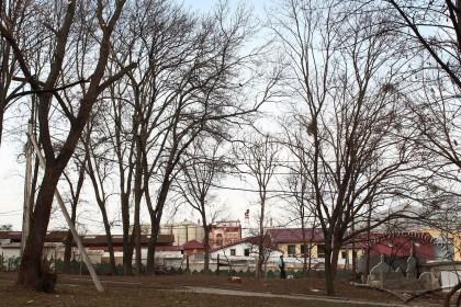 """Вид у бік """"Нового"""" ринку та будівель Львівської пивоварні"""