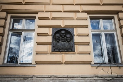 Vul. Universytetska, 1. Memorial plaque to professors who worked in the university: Volodymyr Levytskyi, Myron Zarytskyi, Mykola Chaikovskyi