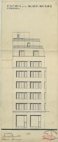 Бічний фасад з боку просп. Шевченка. З оригінального проекту будинку 1928 р.