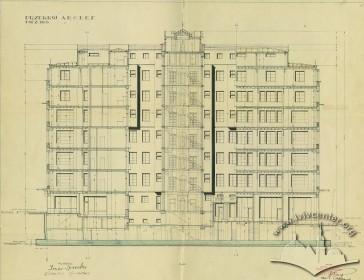 Поздовжній розріз з оригінального проекту будинку 1928 р.