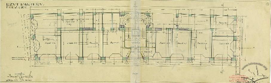 План 1-го поверху з оригінального проекту будинку 1928 р.