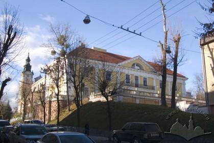 Вул. Бібліотечна, 2. Вигляд з вул. Дорошенка, зліва - вежі кол. костелу Магдалини