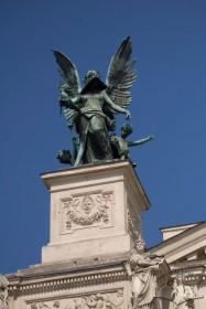 "Prosp. Svobody, 28. The ""Comedy and Drama"" statue by sculptor Petro Viytovych"
