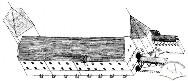 Реконструкція вигляду арсеналу на п'ятий етап будівництва