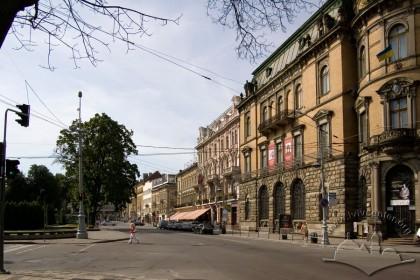 Просп. Свободи, забудова непарної частини вулиці. Спереду - фрагмент будинку №15 де діє Етнографічний музей.
