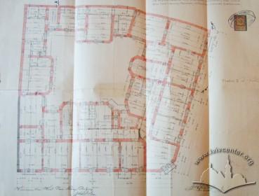 План 1-го поверху будинку на вул. Академіка Богомольця, 1. Креслення арх. Яна Шульца