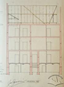 Original design drafts. The longitudinal section
