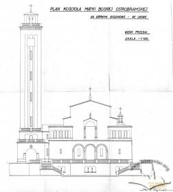 Головний (західний) фасад костелу на вул. Личаківській, 175. Адаптація проекту Тадеуша Обмінського Вавжинцем Дайчаком