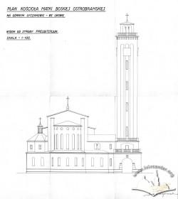 Східний фасад костелу на вул. Личаківській, 175. Адаптація проекту Тадеуша Обмінського Вавжинцем Дайчаком