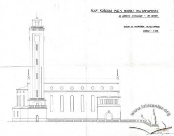 Північний фасад костелу на вул. Личаківській, 175. Адаптація проекту Тадеуша Обмінського Вавжинцем Дайчаком