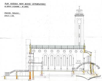 Поздовжній розріз костелу на вул. Личаківській, 175. Адаптація проекту Тадеуша Обмінського Вавжинцем Дайчаком