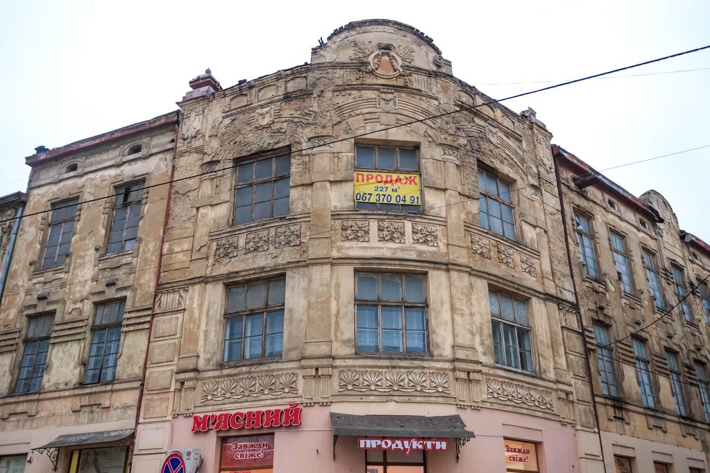 Vul. Khmelnytskoho, 169. Corner part of the building, the former Krampner's townhouse/Photo courtesy of Nazarii Parkhomyk, 2015