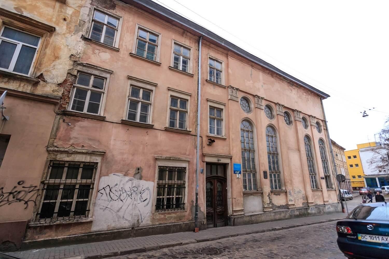 Вул. Вугільна, 1-3. Колишня синагога Якуба Ґлянцера. Головний фасад/Автор фото – Назарій Пархомик, 2015