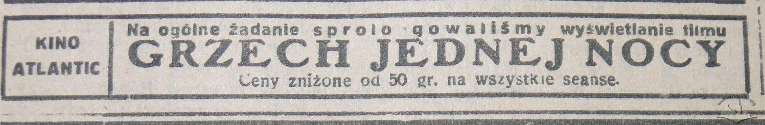 """Рекламне оголошення кінотеатру """"Атлантик"""" у виданні """"Gazeta Lwowska"""", 28 січня 1934 року"""