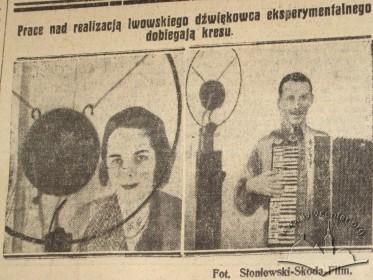 """Софія Батицька (Zofia Batycka) та М. Брияно під час озвучення фільму """"За кулісами Х музи"""" (""""Za kulisami X. Muzy"""")."""
