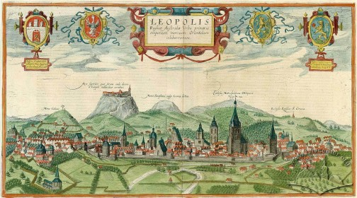 Panorama of Lviv from an Aurelio Pasarotti sketch of a Hohenberg engraving